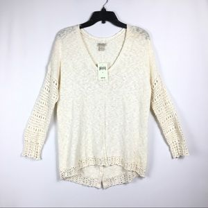 Lucky Brand Cream V neck Open Knit sweater